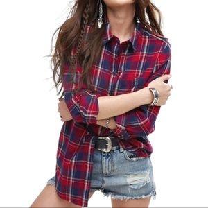 Lucky Brand Plaid Boyfriend Flannel LS Shirt
